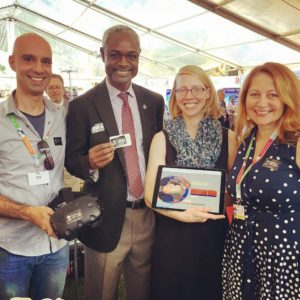 Nir Darom, Lead Creative Designer at the Public VR Lab with the Ibrahim Thiaw, Assistant Secretary-General at the United Nations Environment Programme (UNEP), partner, Amy Kamarainen from EcoMOVE, and Public VR Lab Co-founder/BIG Director, Kathy Bisbee.